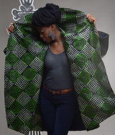 Green peas - batik on green wool coat side ~African fashion, Ankara, kitenge, African women dresses, African prints, Braids, Nigerian wedding, Ghanaian fashion, African wedding ~DKK
