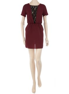 Burgundy lace V tee dress - View All - Dresses - Dorothy Perkins United States