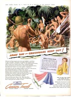 """""""The Towel Tales"""" ~ WWII inspired ad for Cannon Towels featuring soldier bathing in a river, ca. 1940s."""