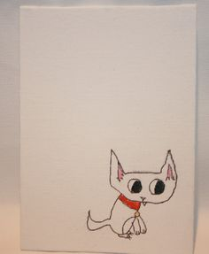 Diminutive White Kitty with Red Collar and Fang by kitncatherine, $5.00