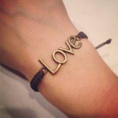 Antique gold LOVE macrame bracelet by AroundMyWrist on Etsy, 10.95