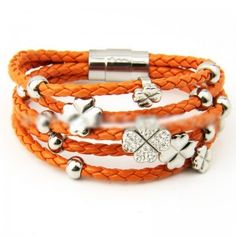 Five Layer Orange Weave Wrap Leather and Titanium Steel Flower Bracelet