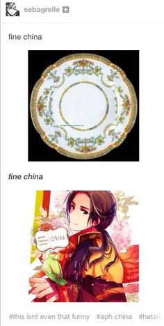 """One day I was at work and by boss just out of the blue says """"that's some fine china"""" and this was all I could think of.<<bring back the fine china China Hetalia, Hetaoni, Hetalia Funny, Spamano, Hetalia Axis Powers, Fine China, Otaku, Geek Stuff, Fandoms"""