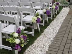 Wedding pew markers using galvanized pails and purple and white hydrangeas. Purple Hydrangea Wedding, Wedding Flowers, Wedding Pew Markers, Wedding Pews, White Hydrangeas, Outdoor Furniture Sets, Outdoor Decor, Floral, Plants