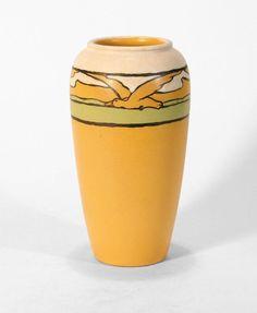 "Paul Revere Pottery Saturday Evening Girls 10.5"" bird vase 1925 arts & crafts"
