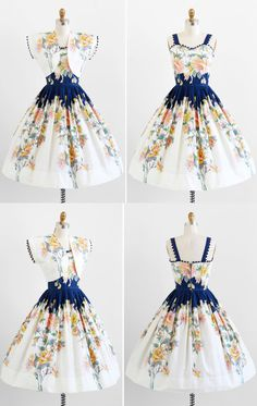 vintage 1950s dress / 50s dress / Blue and Pink by RococoVintage, $386.00