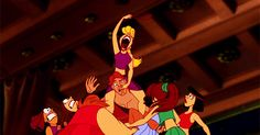When Hercules got into a weird orgy with some seriously bug-eyed ladies.   27 Disney Cartoons Paused At Exactly The Right Moment