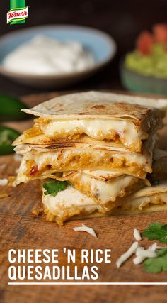 Try the best Knorr recipe for homemade Cheese 'N Rice Quesadillas! Cook Knorr® Fiesta Sides™ - Mexican Rice until tender Put tortillas on a baking sheet & top w/ rice mixture, cheese, & another tortilla Broil until toasted, melted, & delicious. Mexican Food Recipes, Vegetarian Recipes, Dinner Recipes, Cooking Recipes, Healthy Recipes, Meat Recipes, Recipies, Tacos, Tostadas