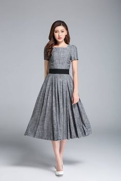 9e7d869598f grey linen dress pleated dress fit and flare dress ladies