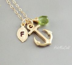 Monogram Anchor Necklace, Initial Birthstone charm Necklace, Monogram Leaf Jewelry, Nautical Wedding Theme, Anchor bridesmaid gifts. $33.00, via Etsy.