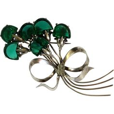 Retro Sterling Silver Green Glass Floral Brooch