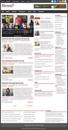 News7 Blogger Template:  News7 is a responsive, 3 columns free blogger theme with 2 right sidebars and 3 columns footer widgets area. News7 Blogger template has a featured posts slider, primary and secondary menus, auto post summaries, social buttons and post share options, web fonts, header banner widget, related posts with thumbnails and more.  https://newbloggerthemes.com/news7-blogger-template/