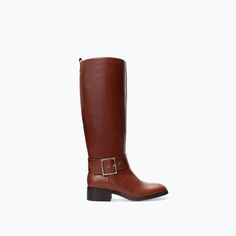 LEATHER RIDING BOOT from Zara #WANT #cognac