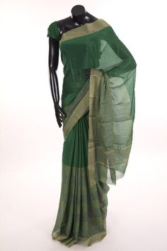 Mysore Crepe- crepe bottle green saree with blouse