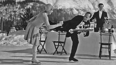 In the 1920s and '30s the waiters at the Grand Hotel in St. Moritz, Switzerland brought over gin and tonics while on ice skates.