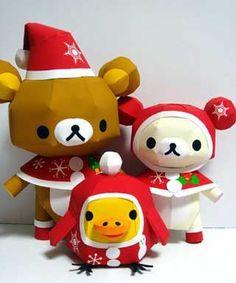 Rilakkuma Paper Crafts in Christmas Costumes