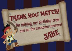 Jake and the Neverland Pirates Thank You Card  by TheCardFactory12, $4.99