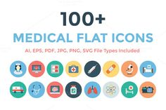 100+ Medical Flat Icons by Creative Stall on Creative Market