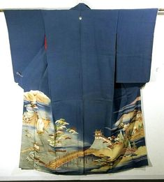 This is a vintage Irotomesode Kimono with a design of sailing boat, tower and bridge, which is dyed and embroidered. The collar is bachi-eri(folded collar) and sleeve length is long,which is the feature of kimono from pre WWII.