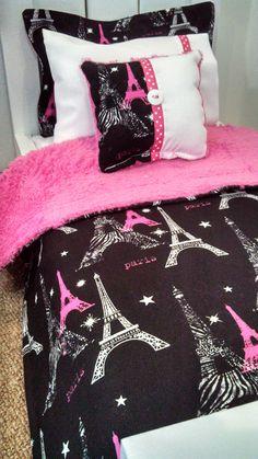 "American Girl Doll Bedding - Paris Bedding 5 Piece Bedding Set for 18"" Dolls"