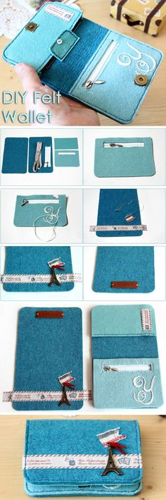 Felt Wallet ~ Sewing projects for beginners. Step by step sew tutorial. How to sew illustration. Felt Wallet, Diy Wallet, Felt Purse, Wallet Tutorial, Felt Tutorial, Mini Purse, Sac Vanessa Bruno, Bag Sewing, Sewing Diy