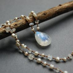 Rainbow Moonstone and Pearl Hand Knotted by HeidyHenkeDesigns