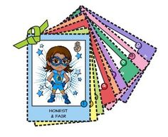 Ten cool superheroes, each one representing one part of the Girl Scout law. Just cut, fold and glue for trading cards or add a ribbon to keep in…