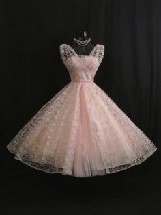 Vintage 1950's 50s Bombshell Baby PINK Lace Tulle Circle Skirt PROM Party…