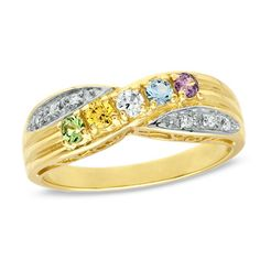 Diamond Accent Mother's Birthstone Ring in Sterling Silver and 18K Gold Plate (2-7 Stones)