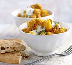 Vegetarian cauliflower and potato curry- BBC Good Food. This is a really yummy recipe and a nice way to use up that cauliflower that's sitting in your fridge! Curry Recipes, Veggie Recipes, Vegetarian Recipes, Healthy Recipes, Veggie Dinners, Vegetarian Cooking, Veggie Food, Free Recipes, Bbc Good Food Recipes