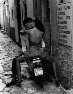 motorbike, man, kiss
