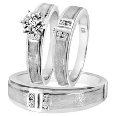 1/4 Carat T.W. Diamond Trio Matching Wedding Ring Set 14K white Gold
