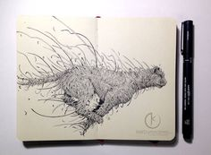 kerbyrosanes - Professional, Traditional Artist   DeviantArt Doodle Art Letters, Doodle Art Journals, Black And White Sketches, Colossal Art, Tattoo Magazines, Surrealism Painting, Animal Coloring Pages, Animal Sketches, Ink Illustrations