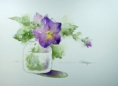Petunias in Baby Food Jar by RoseAnn Hayes