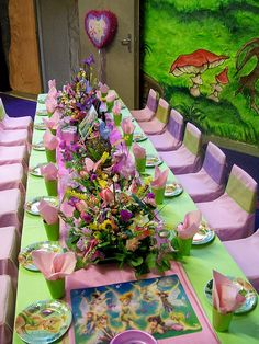 Tinkerbell Birthday Party Table Idea....love love love the fresh flowers!!! super cute!