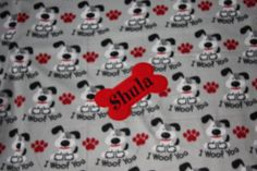 Personalized Pet Blanket Dog Blanket Fleece Custom Embroidered Dog Blanket with Dog Name WOOF made to order by RedBobbinDesigns on Etsy