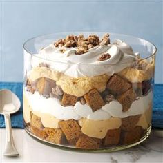 PUMPKIN MOUSSE TRIFLE You can speed up this recipe by using a store-bought pound cake or baking and freezing one ahead of time. The sugared pecans can also be prepared in advance and stored in an airtight container. Pumpkin Trifle, Pumpkin Mousse, Pumpkin Dessert, Pumpkin Pumpkin, Pumpkin Foods, Trifle Desserts, Delicious Desserts, Dessert Recipes, Chef Recipes