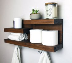 Bathroom Shelf Organizer with Towel Hooks, Farmhouse Country Rustic Storage, Modern Farmhouse, Apartment Decor, Guest Storage Bathroom Storage Shelves, Wall Mounted Shelves, Bathroom Organisation, Organization Ideas, Bath Storage, Modern Farmhouse Bathroom, Bathroom Furniture, Bathroom Wall, Bathroom Ideas