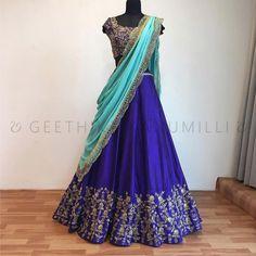 Looking for half saree color combinations ? Check out 21 cool looking half saree designs with trending colors and modern appeal. Half Saree Lehenga, Lehnga Dress, Lehanga Saree, Anarkali, Half Saree Designs, Lehenga Designs, Dress Designs, Indian Wedding Outfits, Indian Outfits