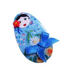 Blue matrioshka brooch
