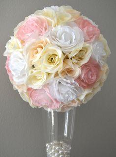 Premium soft silk Pink Blush Ivory And  White Mix by KimeeKouture