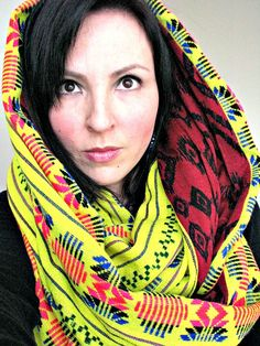 Chunky Infinity Scarf, Aztec Print Scarf, Mexican Woven Fabric Scarf, Reversible Loop Scarf
