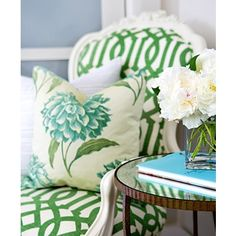 Love the gorgeous green chair fabric by Cobi Ladner.