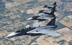 Hungarian Air Force JAS 39 Gripen fighter jets fly in formation from the Kecskemet air base towards Budapest to participate in an air show celebrating the country's national day Airplane Fighter, Fighter Aircraft, Military Jets, Military Aircraft, Air Fighter, Fighter Jets, Ancient Mexican Civilizations, Jas 39 Gripen, Brazilian Air Force