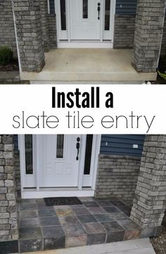 Creative Ways to Increase Curb Appeal on A Budget - Install A Slate Tile Entry - Cheap and Easy Ideas for Upgrading Your Front Porch, Landscaping, Driveways, Garage Doors, Brick and Home Exteriors. Add Window Boxes, House Numbers, Mailboxes and Yard Makeovers http://diyjoy.com/diy-curb-appeal-ideas