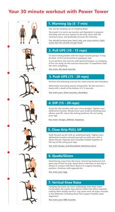 30 minute workout with power tower. find this pin and more on home gym strength training Ab Workout At Home, At Home Gym, At Home Workouts, Workout Plans, Planet Fitness Workout, Muscle Fitness, Men's Fitness, Power Tower Workout, Functional Workouts