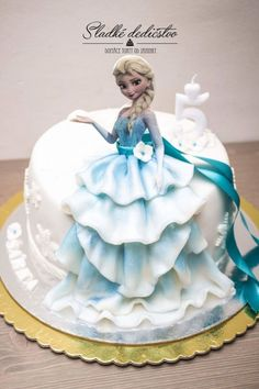 """""""Frozen"""" cake for small princess. She had two parties and two cakes and few conditions: chocolate and strawberies, two different cakes but both with edible Elsa…I tried to combine edible print with fondant for realistic effect so the half of. Tarta Fondant Frozen, Fondant Cakes, Cupcake Cakes, Frozen Doll Cake, Elsa Frozen Cake, Elsa Doll Cake, Disney Frozen, Frozen Party Cake, Frozen Cupcakes"""