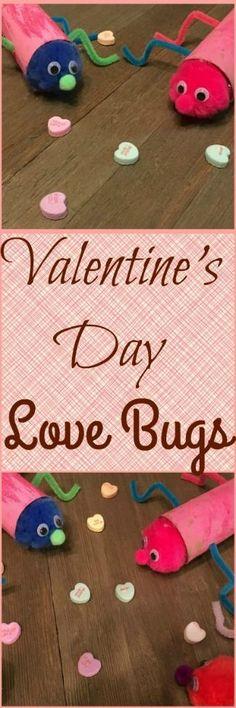 Valentine's Day Love Bugs. A simple Valentine's Day craft using toilet paper rolls and glittle glue. | Nurture Her Nature