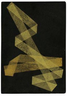 Hermann Glöckner - Zwei weisse Faltungen aus schwarz, 1933. Collage with Japan paper and lacquer on cardboard, 35.1 x 24.8 cm.