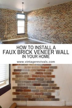 Faux Brick Veneer Wall How To install Faux Brick inside your home! Brick Veneer Wall, Brick Wall Paneling, Brick Accent Walls, Faux Brick Walls, Faux Brick Wall Panels, Faux Brick Backsplash, Brick Wall Kitchen, Brick Interior, Interior Walls